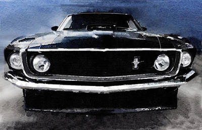 European Painting - 1968 Ford Mustang Shelby Front Watercolor by Naxart Studio