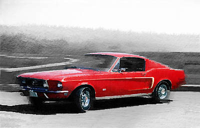 Old Mixed Media - 1968 Ford Mustang Watercolor by Naxart Studio