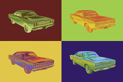 Roadrunner Digital Art - 1968 Plymouth Roadrunner Muscle Car Pop Art by Keith Webber Jr