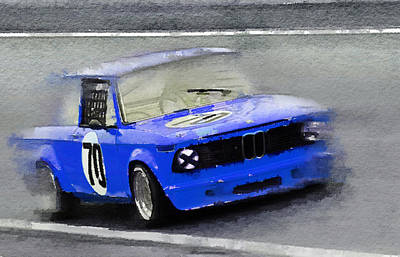 Old Car Painting - 1969 Bmw 2002 Racing Watercolor by Naxart Studio