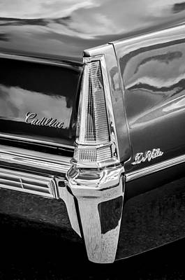 Car Photograph - 1969 Cadillac Deville Taillight Emblems -0890bw by Jill Reger