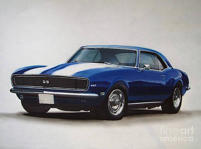 Wheel Drawing - 1969 Camaro Ss/rs by Paul Kuras