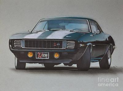 Wheel Drawing - 1969 Camaro Z28 by Paul Kuras