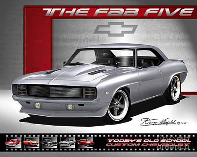 Chevrolet Drawing - 1969 Custom Chevrolet Camaro - The Fab Five by Danny Whitfield