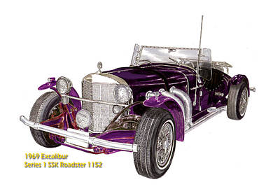 Basic Mixed Media - 1969 Excalibur Ss Roadster by Jack Pumphrey