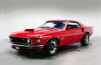 1969 Ford Mustang Watercolor Print by Naxart Studio