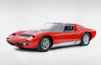 1969 Painting - 1969 Lamborghini Miura P400 S Watercolor by Naxart Studio