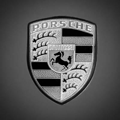 1969 Photograph - 1969 Porsche 911 Targa Emblem - 0611bw55 by Jill Reger