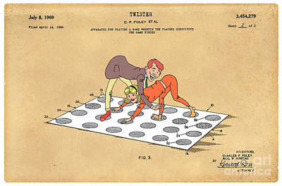 1969 Twister Patent Art 1 Print by Nishanth Gopinathan