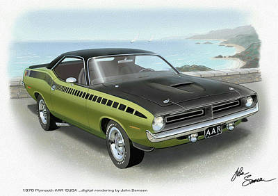 Roadrunner Digital Art - 1970 Barracuda Aar Cuda Muscle Car Sketch Rendering by John Samsen