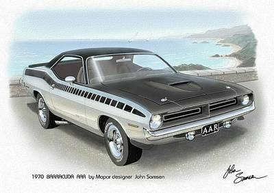 Roadrunner Digital Art - 1970 Barracuda Aar Cuda Plymouth Muscle Car Sketch Rendering by John Samsen