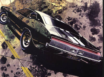 Concept Mixed Media - 1970 Barracuda Plymouth Vintage Styling Design Concept Sketch Frank Kendrickson by ArtFindsUSA