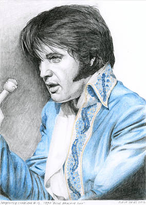 Elvis Presley Drawing - 1970 Blue Brocade Suit by Rob De Vries