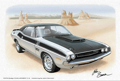 Roadrunner Digital Art - 1970 Challenger T-a Dodge Muscle Car Sketch Rendering by John Samsen
