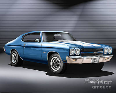Cars Drawing - 1970 Chevrolet Chevelle Ss by Danny Whitfield