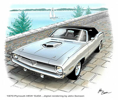 Roadrunner Digital Art - 1970 Hemi Cuda Plymouth Muscle Car Sketch Rendering by John Samsen