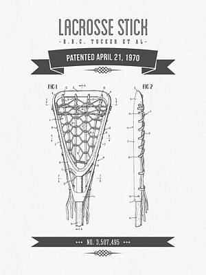 1970 Lacrosse Stick Patent Drawing - Retro Gray Print by Aged Pixel