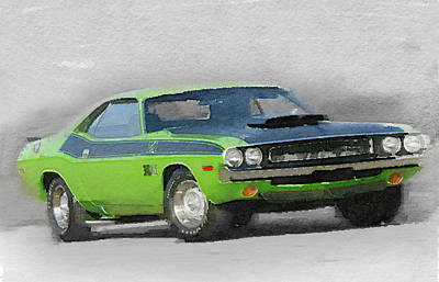 Dodge Painting - 1970-ta-challenger Watercolor by Naxart Studio