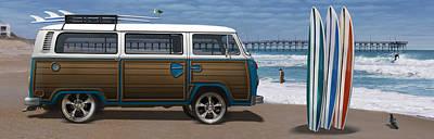 Pier Digital Art - 1970 Vw Bus Woody by Mike McGlothlen