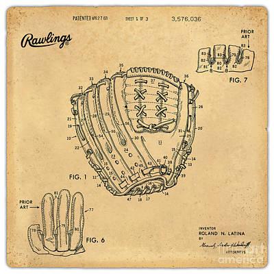 1971 Baseball Glove Patent Art Latina For Rawlings 1 Print by Nishanth Gopinathan