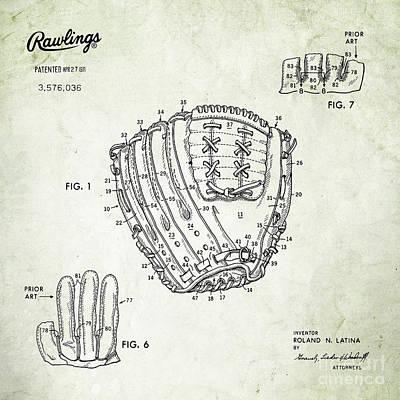 1971 Baseball Glove Patent Art Latina For Rawlings 2 Print by Nishanth Gopinathan