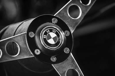 Lightweight Photograph - 1971 Bmw 3.0csl Lightweight Prototype - Steering Wheel Emblem -0498bw by Jill Reger