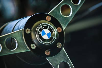Car Photograph - 1971 Bmw 3.0csl Lightweight Prototype - Steering Wheel Emblem -0498c by Jill Reger