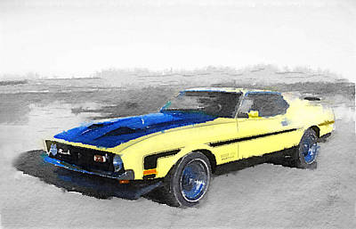 Old Mixed Media - 1971 Ford Mustang Boss Watercolor by Naxart Studio