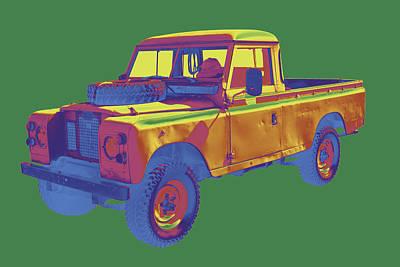 Travelling Art Digital Art - 1971 Land Rover Pick Up Truck Pop Art by Keith Webber Jr