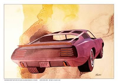 Concept Cars Mixed Media - 1972 Barracuda  B Cuda  Plymouth Vintage Styling Design Concept Rendering by John Samsen