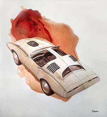 Concept Painting - 1972 Barracuda  K  Cuda Vintage Styling Design Concept Sketch by John Samsen