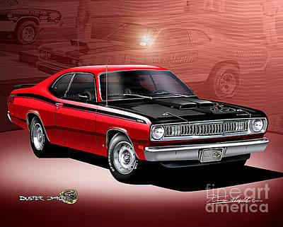 Cars Drawing - 1972 Plymouth Duster by Danny Whitfield