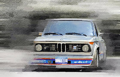 Old Car Painting - 1974 Bmw 2002 Turbo Watercolor by Naxart Studio
