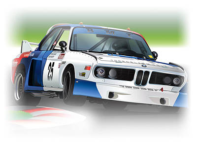 Bavarian Drawing - 1975 Imsa Bmw 3.5csl by Alain Jamar