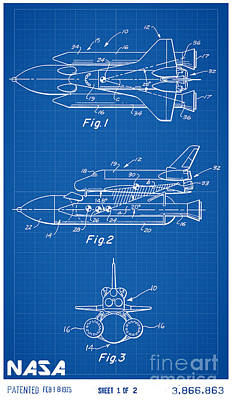 Space Ships Drawing - 1975 Nasa Space Shuttle Patent Art 1 by Nishanth Gopinathan