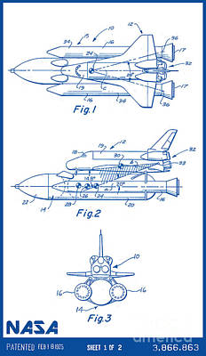 Space Ships Drawing - 1975 Nasa Space Shuttle Patent Art 2 by Nishanth Gopinathan