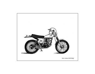 Dirt Roads Drawing - 1976 Yamaha Tt by Jack Pumphrey