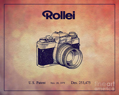 Vintage Camera Drawing - 1979 Rollei Camera Patent Art 1 by Nishanth Gopinathan
