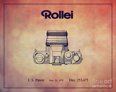 Vintage Camera Drawing - 1979 Rollei Camera Patent Art 2 by Nishanth Gopinathan