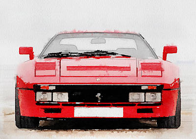 Old Car Painting - 1980 Ferrari 288 Gto Front Watercolor by Naxart Studio