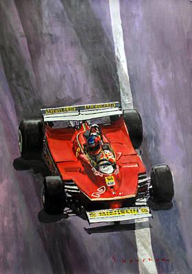 Art Paper Painting - 1980 Monaco Gp Gilles Villeneuve Ferrari 312 T5  by Yuriy Shevchuk