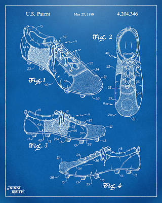 1980 Soccer Shoes Patent Artwork - Blueprint Print by Nikki Marie Smith