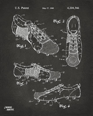 1980 Soccer Shoes Patent Artwork - Gray Print by Nikki Marie Smith