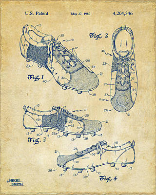 1980 Soccer Shoes Patent Artwork - Vintage Print by Nikki Marie Smith