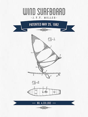 1982 Wind Surfboard Patent Drawing - Retro Navy Blue Print by Aged Pixel