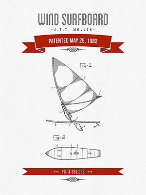 1982 Wind Surfboard Patent Drawing - Retro Red Print by Aged Pixel