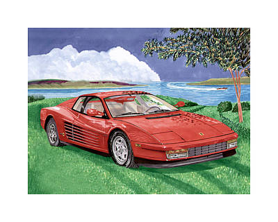 Cat Images Painting - 1987 Ferrari Testarosa by Jack Pumphrey