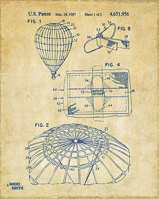 Hot Air Balloon Drawing - 1987 Hot Air Balloon Patent Artwork - Vintage by Nikki Marie Smith