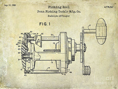 1988 Penn Fishing Reel Patent Drawing Print by Jon Neidert