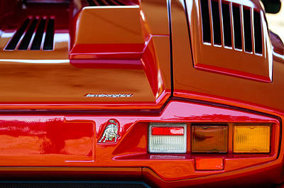 1990 Photograph - 1990 Lamborghini Countach Taillight Emblem by Jill Reger